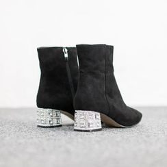 VIVIER - Rhinestone-Heel Ankle Boots