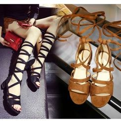 Freesia - Block Heel Lace-Up Sandals
