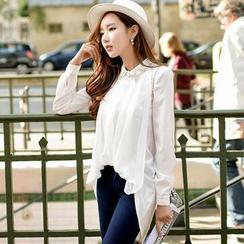Dabuwawa - Long-Sleeve Embellished-Collar Dip-Back Blouse