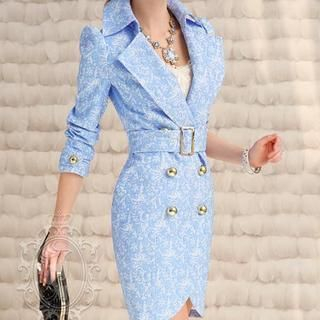 Dabuwawa - Double-Breasted Floral Trench Coat
