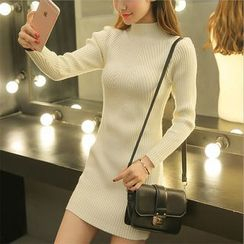 Pecora - Long-Sleeve Mock Neck Knit Sheath Dress