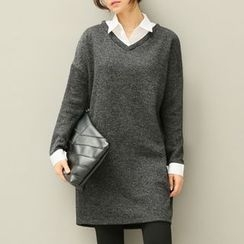 MayFair - Mock Two-Piece Collared Long-Sleeve Dress