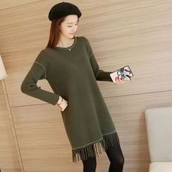 Shomez - Long-Sleeve Fringe Knit Dress