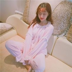 ALIN STYLE - Pajama Set: Lace Trim Top + Pants