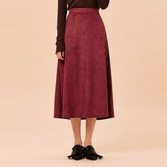 chuu - Faux-Suede A-Line Long Skirt