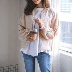JUSTONE - Flower-Embroidered Bomber Jacket