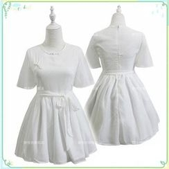 Cosgirl - Chinese Frog Button A-Line Dress with Sash