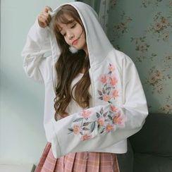 Miss Kekeli - 花花刺繡連帽拉鏈外套