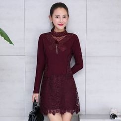 AiSun - Lace Trim Long Sleeve Mini Dress