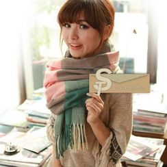 JVL - Check Fringed Knit Scarf