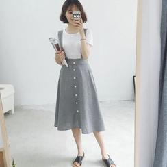 Phantasy - Set: Short Sleeve Plain T-Shirt + Striped A-line Jumper Skirt