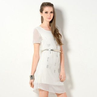 59 Seconds - Metallic Print Chiffon Shift Dress with Belt
