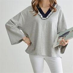 PIPPIN - V-Neck Frill-Trim T-Shirt
