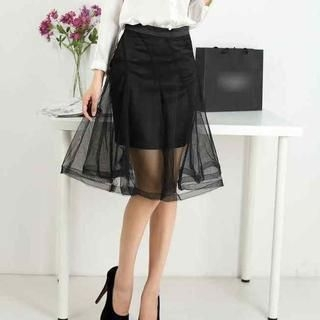 Ando Store - Mesh-Layered A-Line Skirt
