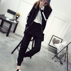 TIMI - Set: Contrast Trim Zip Jacket + Jogger Pants