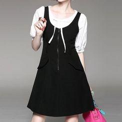 Alaroo - Set: Elbow-Sleeve Blouse + Zip Front Pinafore Dress