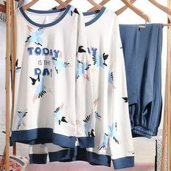 Hodohome - Couple Matching Loungewear Set: Printed Pullover + Pants
