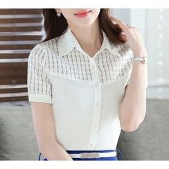 Eferu - Panel Short-Sleeve Chiffon Blouse