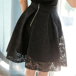Styleonme - Plated A-Line Lace Skirt