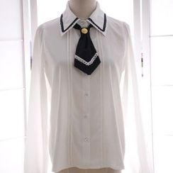 Reine - Detachable Tie Chiffon Shirt