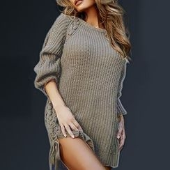 Merma - Lace-Up Chunky Sweater