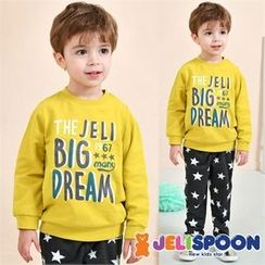 JELISPOON - Kids Set: Lettering Sweatshirt + Star Pattern Pants
