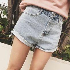 AJIEJIA - Fray Hem Denim Shorts