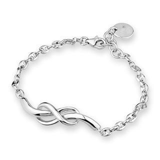 MaBelle - Bling Bling 925 Silver Platinum Plated Infinity Sign Bracelet