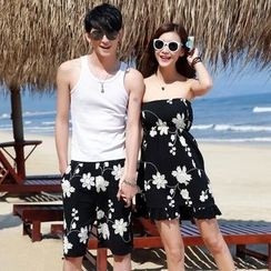 NoonSun - Couple Matching Floral Shorts / Strapless Floral Dress