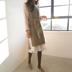 Hello sweety - Wool Blend Long Knit Vest with Belt