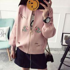 Qimi - Flower Embroidered Zip Cardigan