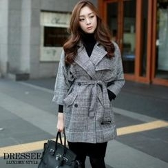 DRESSEE - Check-Pattern Trench Coat with Belt
