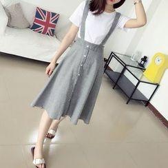 Parc - Set : Short-Sleeve T-shirt + Button-front Jumper Skirt