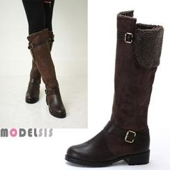 MODELSIS - Fleece-Line Buckled Tall Boots