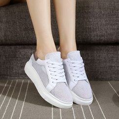 Hannah - Genuine Leather Mesh Sneakers