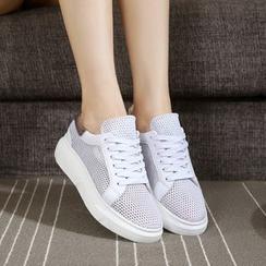 Hannah - 真皮網紗休閒鞋