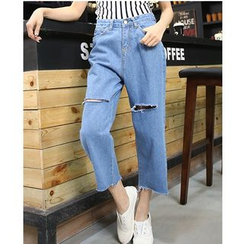 Denimot - Washed Cropped Wide Leg Jeans