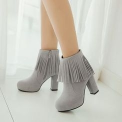 Pastel Pairs - Fringed Chunky Heel Short Boots