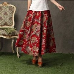 Floral Elegance - Flower Print Linen Maxi Skirt