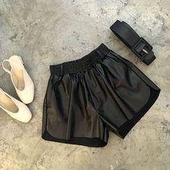 YUKISHU - Faux Leather Wide Leg Shorts with Belt