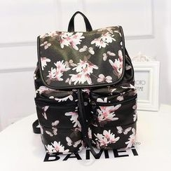 Bibiba - Faux Leather Floral Print Backpack