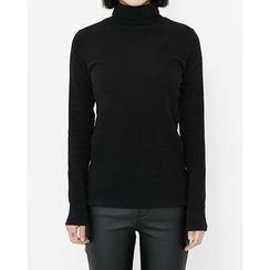 Someday, if - Turtle-Neck Slim-Fit Cotton Top