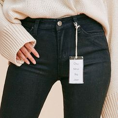 chuu - Fray-Hem Coated Skinny Jeans