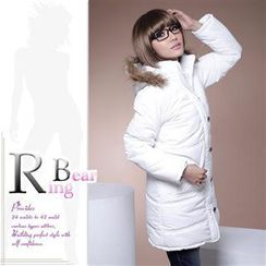 RingBear - Zip Front Padded Coat with Faux-Fur Trimmed Hood