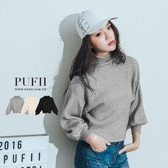 PUFII - 坑條袖縮口高領針織毛衣