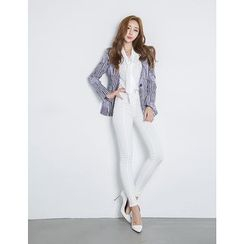 GUMZZI - Collarless One-Button Stripe Blazer