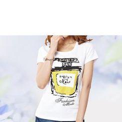 Zyote - Short-Sleeve Perfume Print T-Shirt