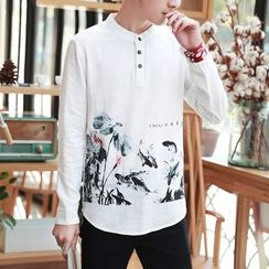Riverland - Print Henley Long-Sleeve T-shirt