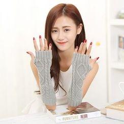 Damasco - Ribbed Long Knit Fingerless Gloves