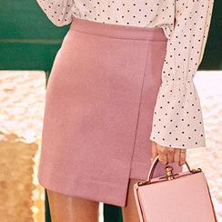 chuu - Asymmetric-Hem Mini Skirt